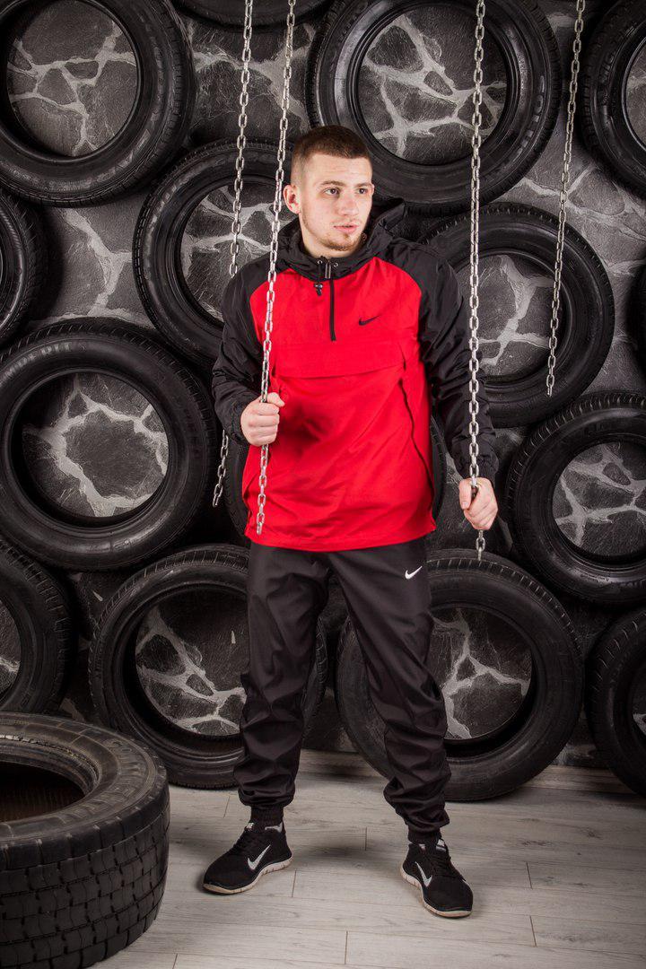 Комплект Nike Анорак +штаны, барсетка в подарок красный топ реплика