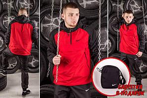 Комплект Nike Анорак +штаны, барсетка в подарок красный топ реплика, фото 2