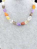Бусы Аметист, Сердолик, Самоцветы - натуральные камни привлекают любовь и благополучие 44 см.