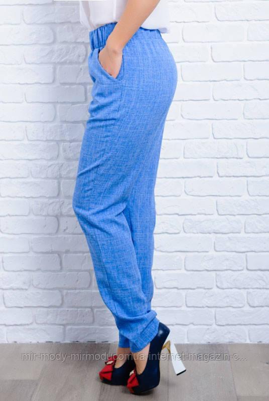 ЖЕНСКИЕ ЛЬНЯНЫЕ БРЮКИ КРИТ голубые с 42 по 60 размер(ЛБ)