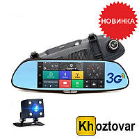Автомобильный видеорегистратор-зеркало с двумя камерами DVR 7in1 Android