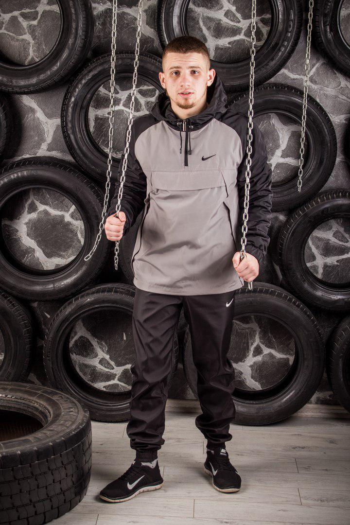 Комплект Nike Анорак +штаны, барсетка в подарок серый топ реплика