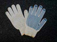 Перчатки V861 , вязанные с ПВХ точкой, 6 нитей, 30пэ/70х/б, р.10