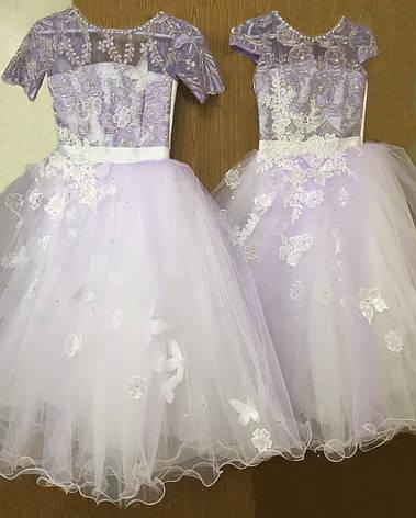 Детское нарядное кружевное платье с бабочками и цветами р.134-140, фото 2