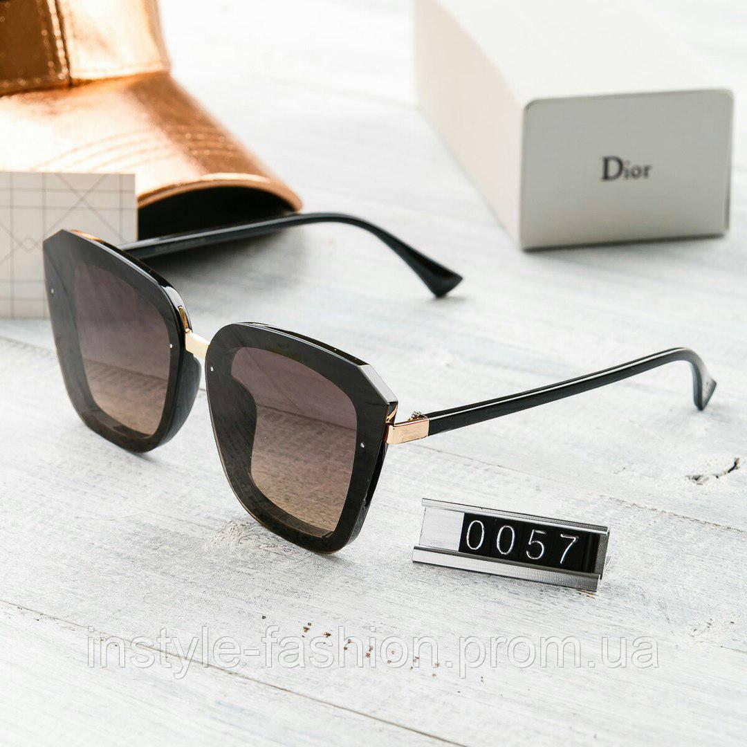 Брендовые женские очки копия Диор Poloroid коричневые