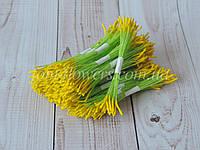 Тайские тычинки желтые, удлиненные на салатовой нитке, фото 1