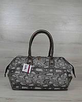 Серая сумка саквояж деловая под питона 31905, фото 1