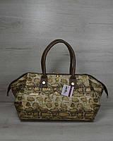 Золотистая сумка саквояж деловая под питона 31907, фото 1