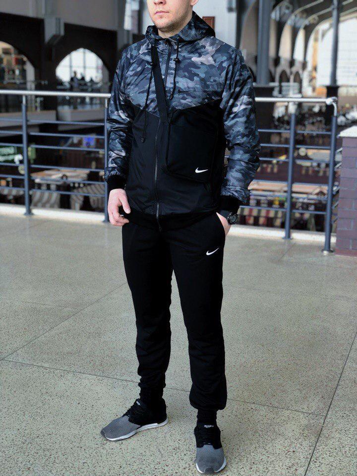 Комплект Nike Windrunner Jacket +штаны, барсетка в подарок синий камуфляж топ реплика