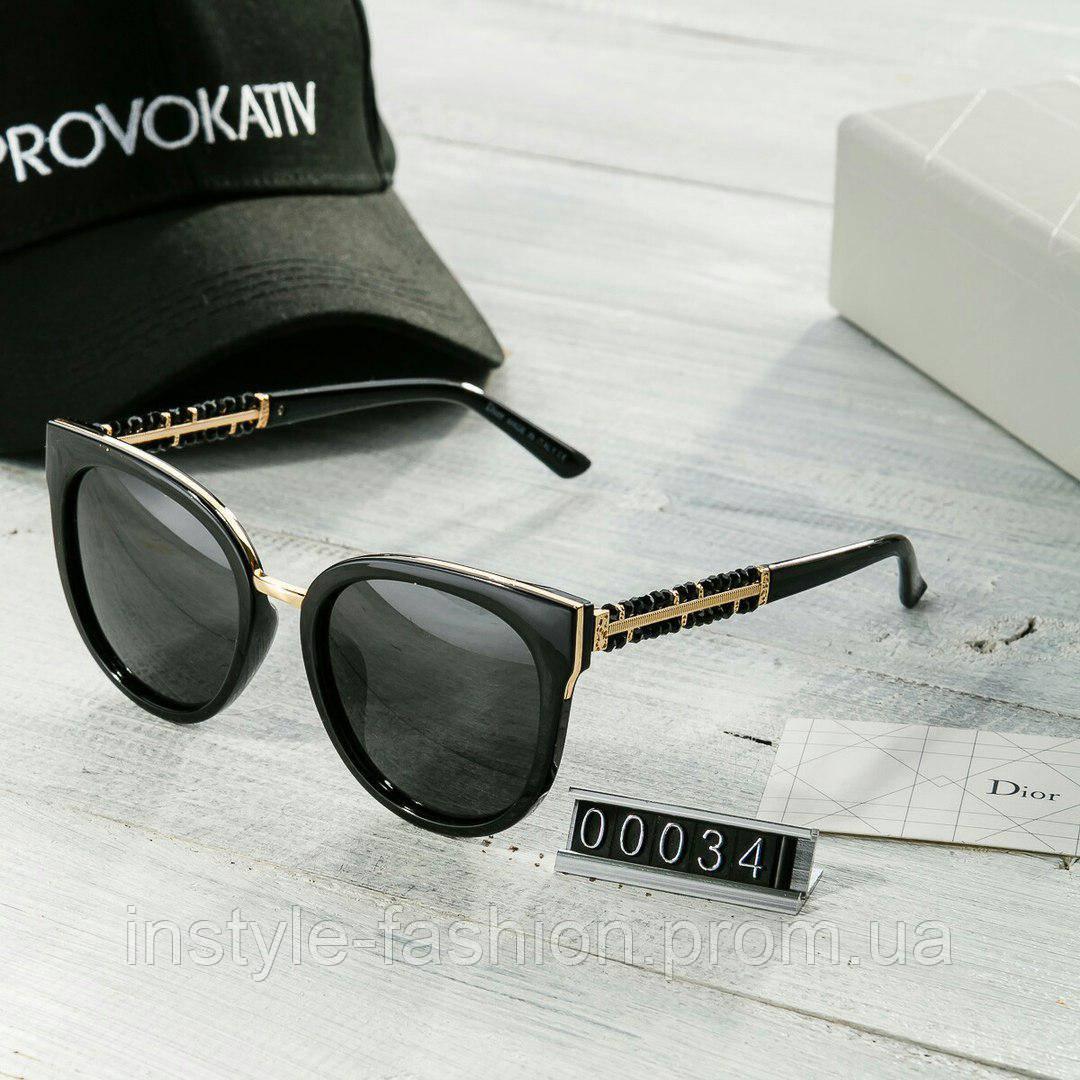 Брендовые женские очки копия Диор Poloroid черные