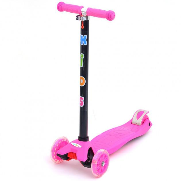 Трехколесный самокат 4Kids Maxi светятся колеса, розовый