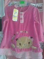 Платье теплое розовое велюр, размер 74,80