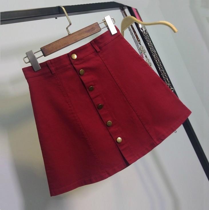 Женская юбка трапеция на пуговицах бордовая (марсала)