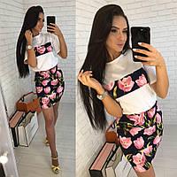 Женский костюм (футболка и юбка)