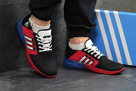 Кроссовки мужские Adidas сетка,черные с красным 43, фото 2