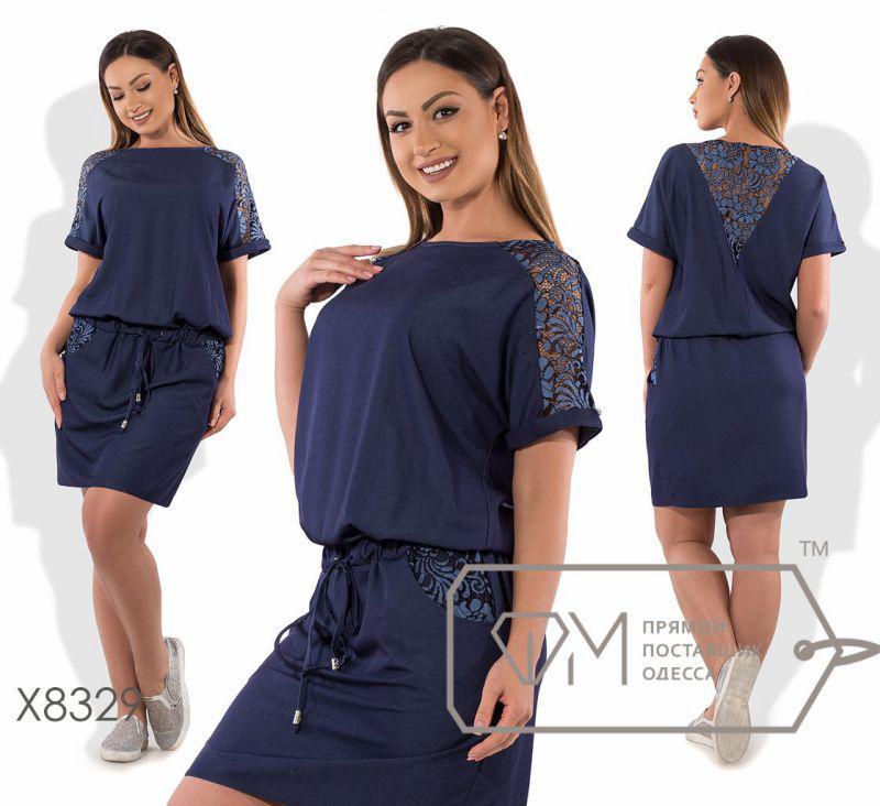 Платье джинсовое с гипюром 52,54