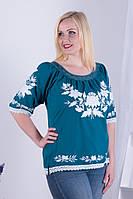 Легка жіноча полотняна вишиванка кольору морської хвилі з вишивкою білими  квітами №142 6991e830c9ebf