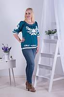 Легка жіноча полотняна вишиванка кольору морської хвилі з вишивкою білими квітами №142