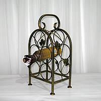 Кованая подставка для вина на 5 бутылок, черная с золотом, фото 1