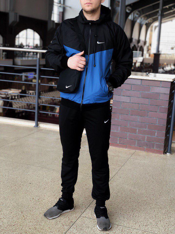 Комплект Nike Windrunner Jacket +штаны, барсетка в подарок сине-черный топ реплика