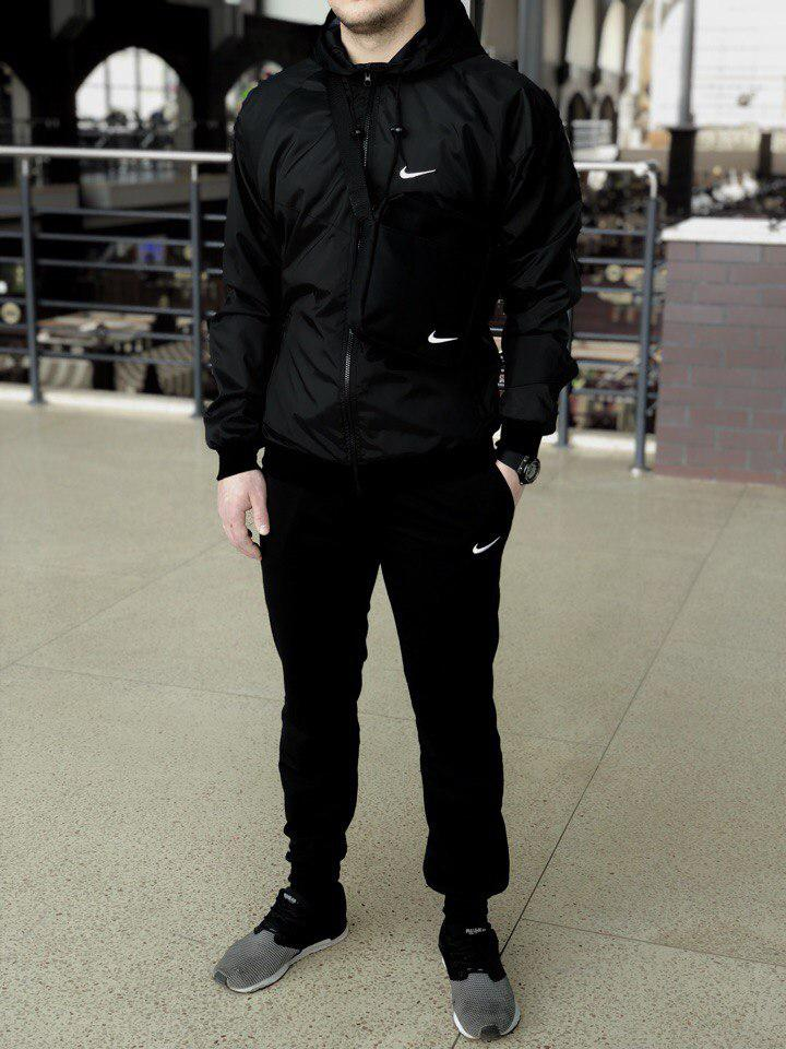 Комплект Nike Windrunner Jacket +штаны, барсетка в подарок черный топ реплика