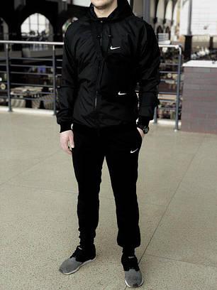 Комплект Nike Windrunner Jacket +штаны, барсетка в подарок черный топ реплика, фото 2