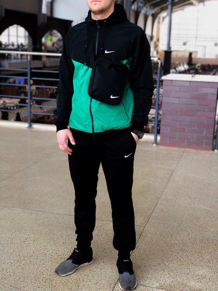 Комплект Nike Windrunner Jacket +штаны, барсетка в подарок бирюзово-черный топ реплика