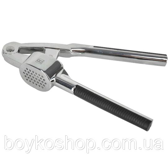 Чесночница металл овальная с черной ручкой