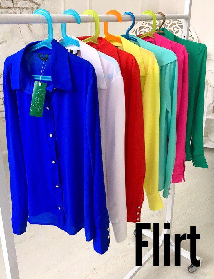 Блуза Размер: 42-44 Ткань: креп-шифон  Цвета: лимон, электрик, зеленый(трава), малина, мята, белый. (11308)