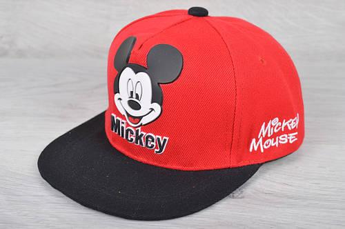 """Кепка-рэперка детская """"Mickey"""" Размер 52 см. Красная. Оптом и в розницу."""