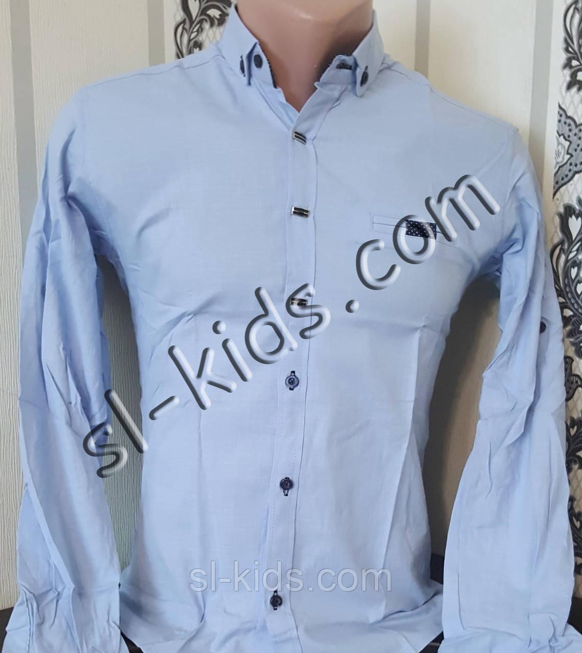 Стильная стрейчевая рубашка для мальчика 11-15 лет(розн) (голубая) (пр. Турция)