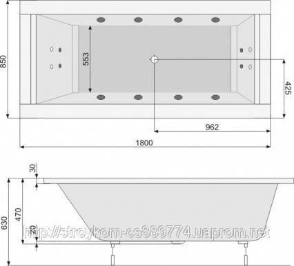 Ванна прямоугольная с гидро и аэромассажем (190*85), фото 2