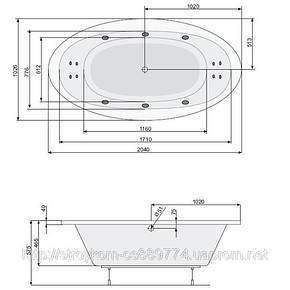 Ванна овальная с гидро и аэромассажем (190*100), фото 2