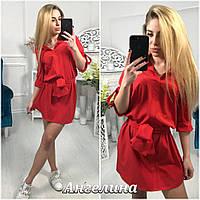 Летнее платье под пояс свободного кроя (в расцветках) 17099PL, фото 1