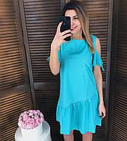 Хлопковое летнее платье с разрезами на плечах (в расцветках) 17097PL, фото 1