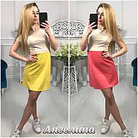 Двухцветное летнее платье с коротким рукавом 17098PL, фото 1