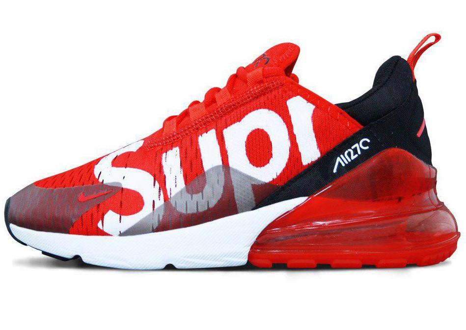 Женские кроссовки Supreme x Nike Air Max 270 (Найк Аир Макс Суприм) красные