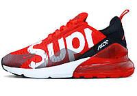 Мужские кроссовки Supreme x NikeAir Max 270 (в стиле Найк Аир Макс Суприм) красные