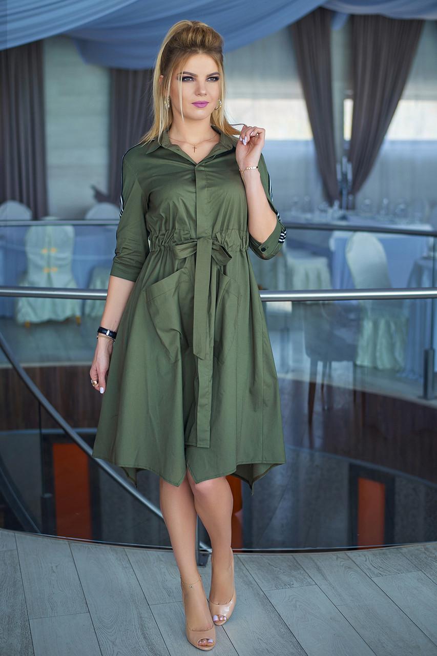 Платье-рубашка хаки Риана