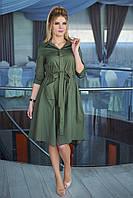 Платье-рубашка хаки Риана, фото 1