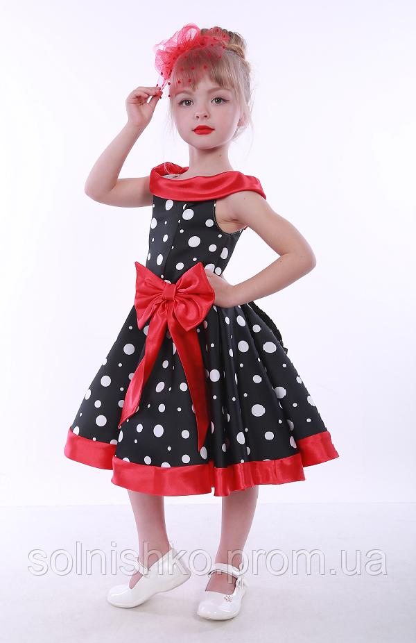 d36b16592a7 Нарядное платье для девочки Стиляги Горох бант 2 красный - Сонечко в Киеве