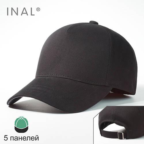 Кепка бейсболка, 5 панелей, Хлопок, Черный, Inal