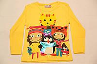 """Реглан детский желтый для девочки с длинным рукавом """"друзья"""", размер 7-8"""