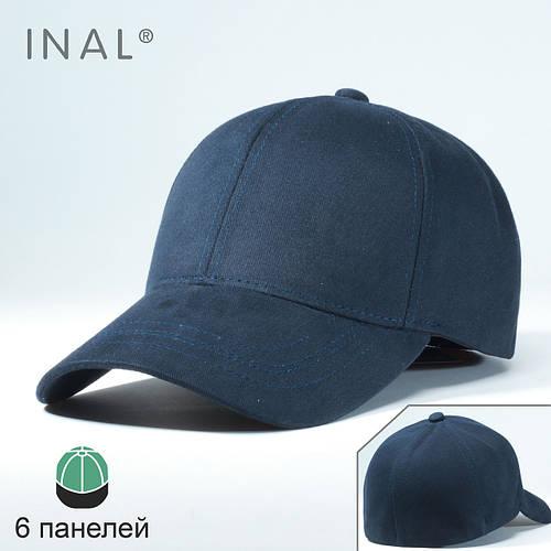 Кепка бейсболка, 6 панелей, Хлопок, Синий, Inal