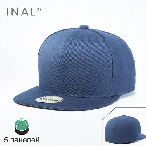Кепка бейсболка, 5 панелей, L / 57-58 RU, 80% Акрил 20% Шерсть, Синий, Inal