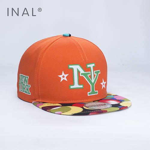 Кепка бейсболка, NY New York, M / 55-56 RU, Хлопок, Оранжевый, Inal