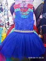Детское нарядное платье бальное Прима.  Возраст 6-7 лет. Синее