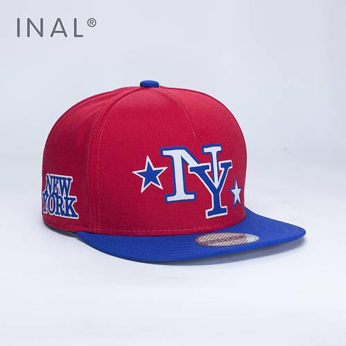 Кепка бейсболка, NY New York, M / 55-56 RU, Хлопок, Красный, Inal