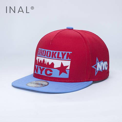 Кепка бейсболка, Brooklyn NYC, M / 55-56 RU, Хлопок, Красный, Inal