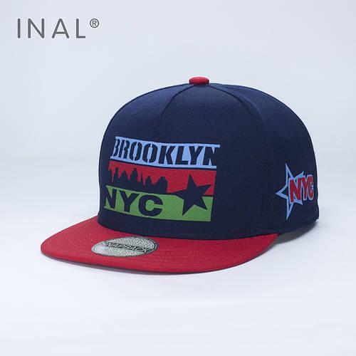 Кепка бейсболка, Brooklyn NYC, M / 55-56 RU, Хлопок, Синий, Inal